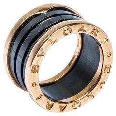Bvlgari B.Zero1 Black Ceramic 18K Rose Gold 4-Band Ring Size 50