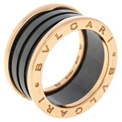 Bvlgari B.Zero1 Black Ceramic 18k Rose Gold Band Ring Size 59