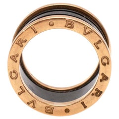 Bvlgari B.Zero1 Black & Rose Gold Enamel Ring