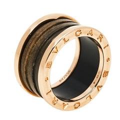 Bvlgari B.Zero1 Brown Marble 18K Rose Gold 4-Band Ring Size 54