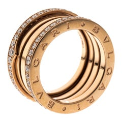 Bvlgari B.Zero1 Diamond 18K Rose Gold 4-Band Ring Size 57