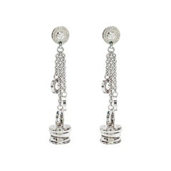 Bvlgari B.Zero1 Diamond 18k White Gold Long Dangle Earrings