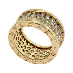 Bvlgari B.zero1 Diamond Paved Rose Gold Band Ring
