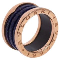 Bvlgari B.Zero1 Lapis Lazuli 18K Rose Gold Band Ring Size 54