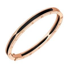 Bvlgari B.zero1 Pink Gold and Black Ceramic Bangle Bracelet