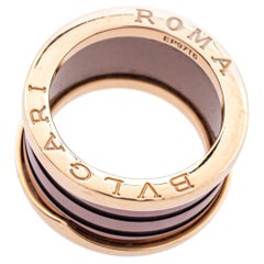 Bvlgari B.Zero1 Roma Bronze Ceramic 18K Rose Gold 4-Band Ring Size 52