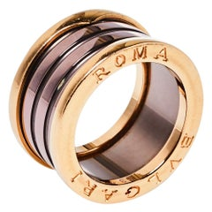 Bvlgari B.Zero1 Roma Bronze Ceramic 18K Rose Gold 4-Band Ring Size 53