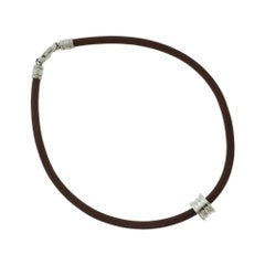 Bvlgari B.zero1 Small Ring on Brown Leather Chain Choker Necklace