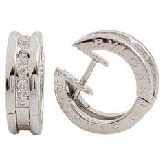 Bvlgari 'B.zero1' Small White Gold and Diamond Hoop Earrings