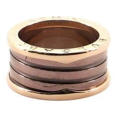 Bvlgari B.Zero1 Three-Band Ring 18 Karat Rose Gold and Ceramic 8.75-59