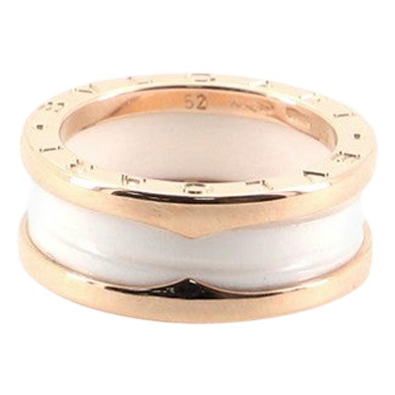 Bvlgari B.zero1 Two Band Ring 18 Karat Rose Gold and Ceramic
