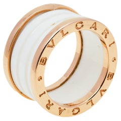 Bvlgari B.Zero1 White Ceramic 18k Rose Gold 4 Band Ring Size 52