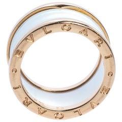Bvlgari B.Zero1 White Ceramic 18K Rose Gold 4-Band Ring Size 56