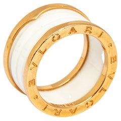 Bvlgari B.Zero1 White Ceramic 18k Rose Gold Band Ring Size 56