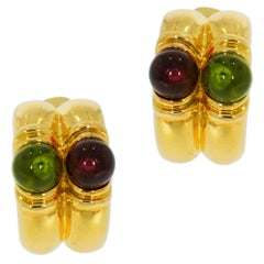 Bvlgari Cabochon Tourmaline Yellow Gold Earrings