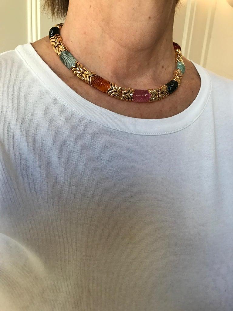 Bvlgari Carved Tourmaline Citrine Aquamarine 18 Karat Yellow Gold Necklace For Sale 2