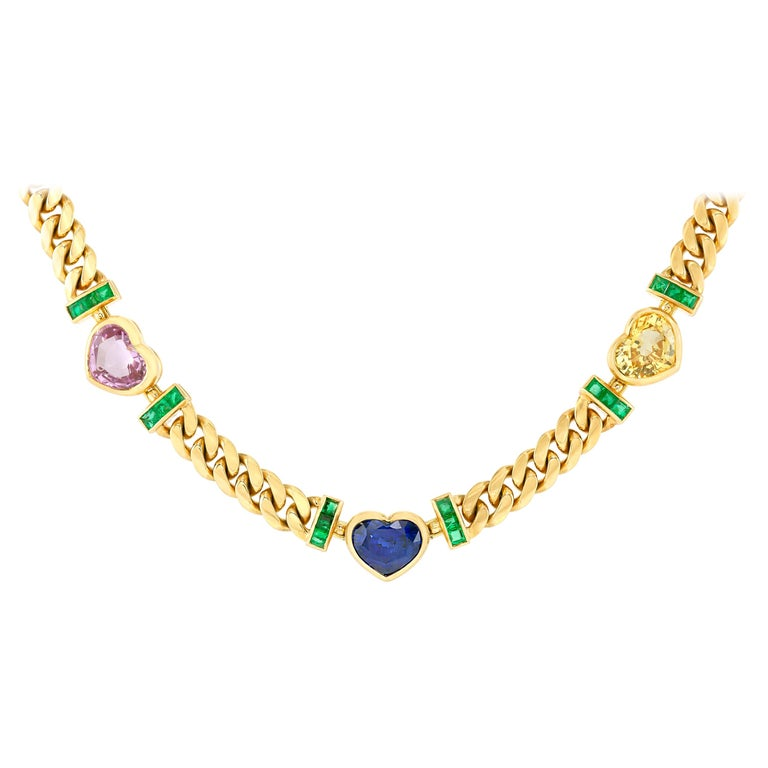 Bvlgari GIA Certified Burma Sapphire Hearts Chain Necklace For Sale