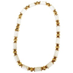 Bvlgari Chandra Carved White Porcelain Necklace in 18 Karat Yellow Gold
