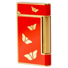 Bvlgari Chinoiserie Red Lacquer Gold Butterfly Lighter, 1970s