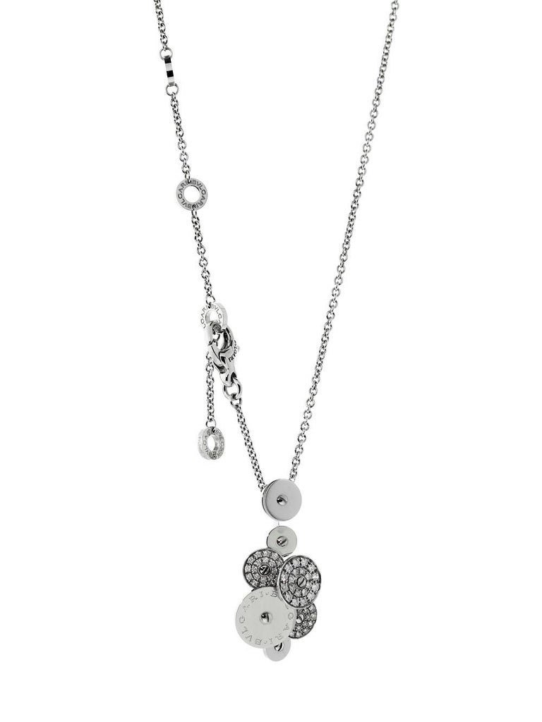 Modern Bvlgari Cicladi Collection Diamond 18 Carat White Gold Pendant and Chain For Sale