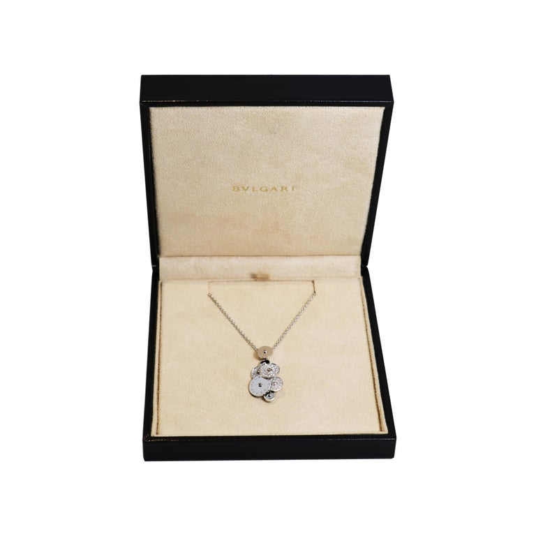 Brilliant Cut Bvlgari Cicladi Collection Diamond 18 Carat White Gold Pendant and Chain For Sale