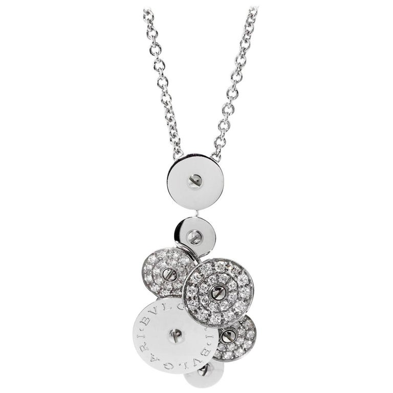 Bvlgari Cicladi Collection Diamond 18 Carat White Gold Pendant and Chain For Sale