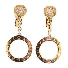 Bvlgari Circle Drop Earring Earrings 18 Karat Rose Gold with Pave Diamonds