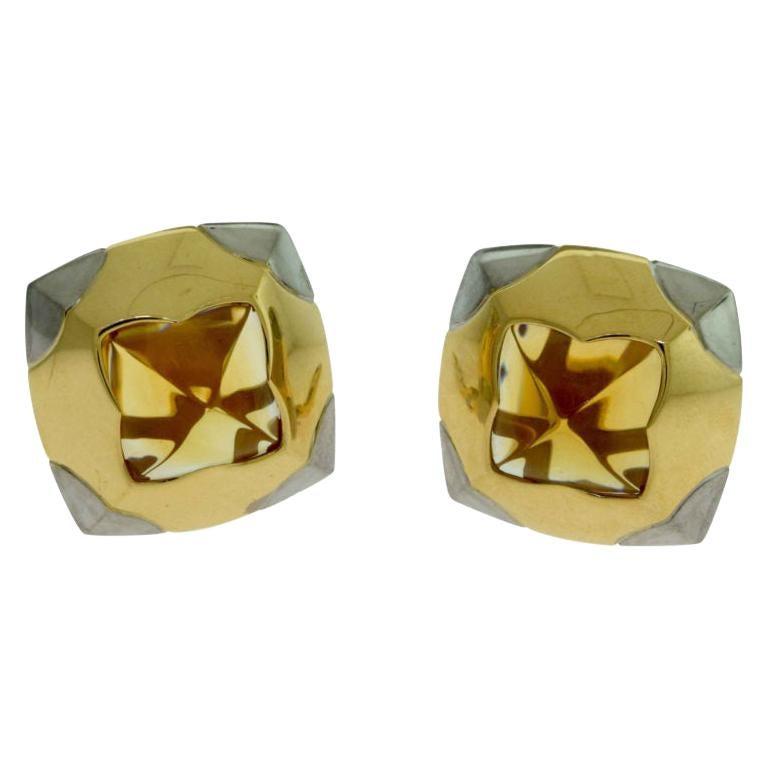 Bvlgari Citrine Gold Pyramide Earrings