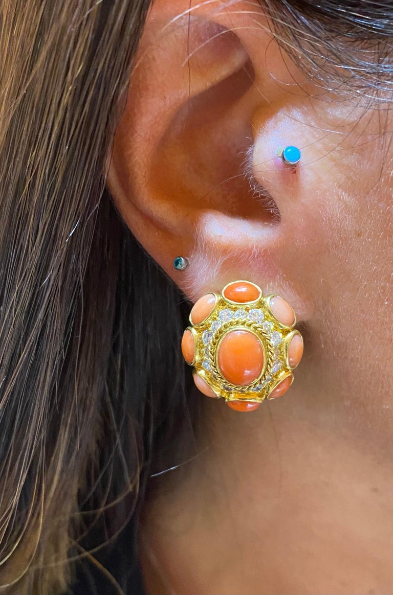 Cabochon Bvlgari Coral & Diamond Earrings For Sale