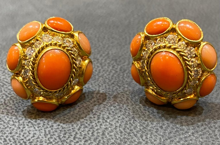 Bvlgari Coral & Diamond Earrings In Excellent Condition For Sale In New York, NY