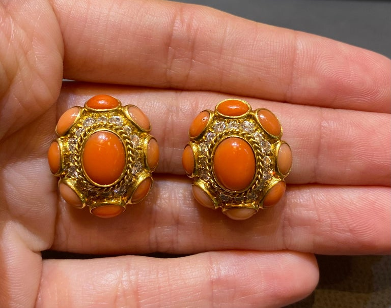 Bvlgari Coral & Diamond Earrings For Sale 1
