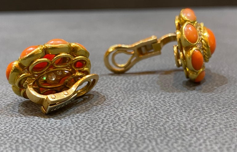 Bvlgari Coral & Diamond Earrings For Sale 2
