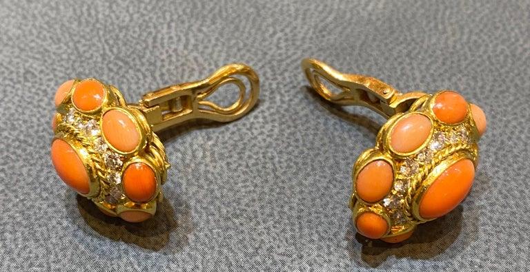 Bvlgari Coral & Diamond Earrings For Sale 3