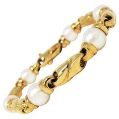 Bvlgari Cultured Pearl 18 Karat Yellow Gold Station Link Bracelet Estate