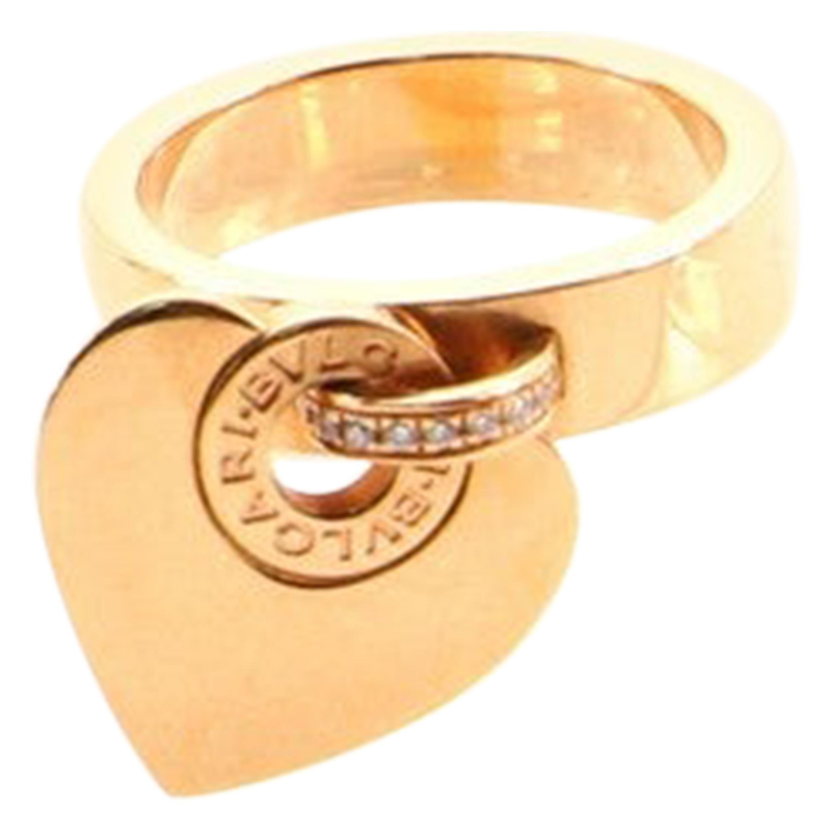 Bvlgari Cuore Charm Ring 18 Karat Rose Gold and Diamonds