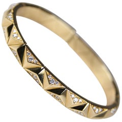Bulgari Designer Yellow Gold and Diamond Flexible Cuff Bracelet