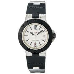 Bvlgari Diagano Al 38 a Men's Automatic Watch Aluminium Cream Rubber Band