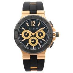 Bvlgari Diagono 18k Rose Gold Ceramic Black Dial Men's Watch 101987 DGP42GCCH