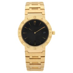 Bvlgari Diagono 18k Yellow Gold Black Dial Unisex Quartz Watch BB.39.GG