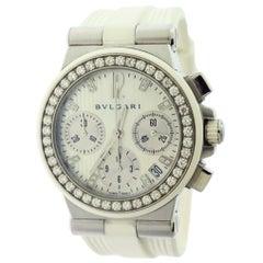 Bvlgari Diagono Chronograph with Diamond Bezel Watch White Strap