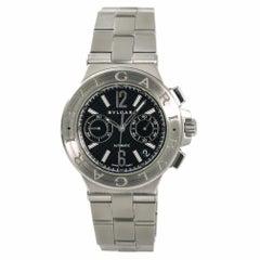 Bvlgari Diagono DG 40 S CH Men's Automatic Watch Black Dial Chronograph SS