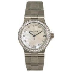Bvlgari Diagono LCVW29G Womens Quartz 18 Karat White Gold Watch MOP Dial