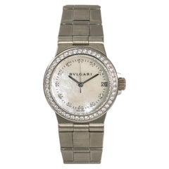 Bvlgari Diagono LCVW29G Women's Quartz 18 Karat White Gold Watch Mop Dial