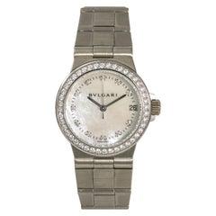 Bvlgari Diagono LCVW29G Womens Quartz 18K White Gold Watch MOP Dial