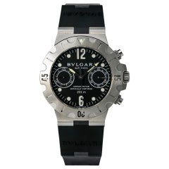 Bvlgari Diagono SC38S Scuba Chronograph Automatic Unisex Watch SS and Rubber