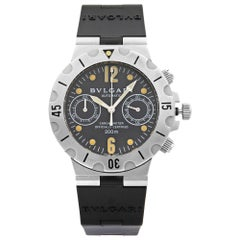 Bvlgari Diagono Scuba Chronograph Black Dial Automatic Men's Watch SCB 38 S