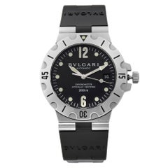 Bvlgari Diagono Scuba Stainless Steel Black Dial Automatic Men's Watch SD 38 S