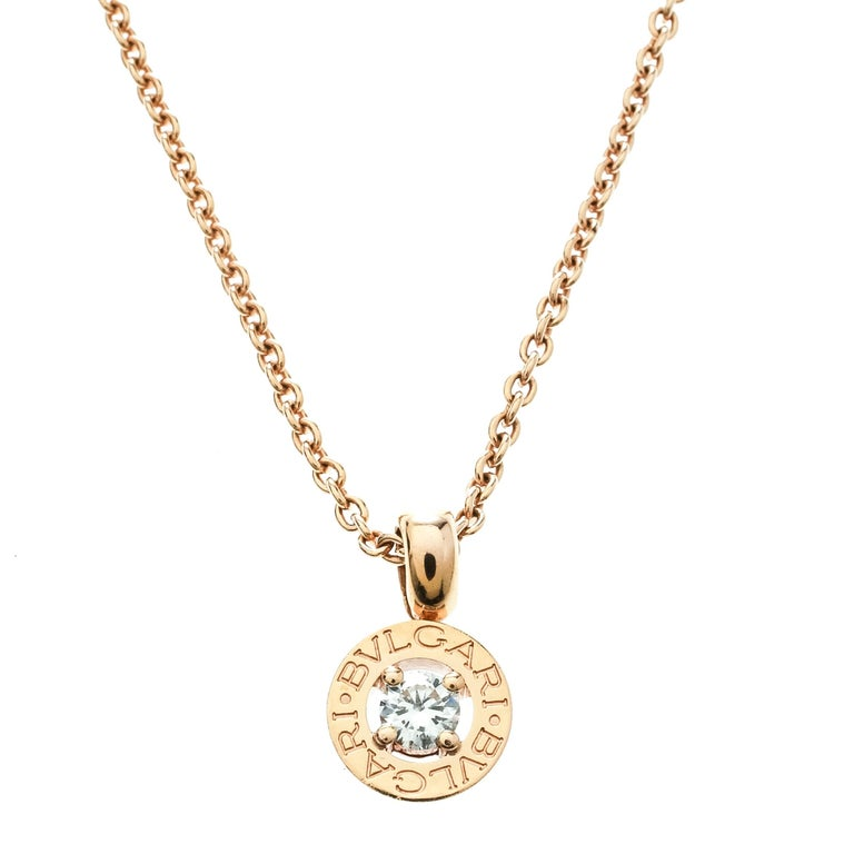Contemporary Bvlgari Diamond & 18k Rose Gold Pendant Necklace For Sale