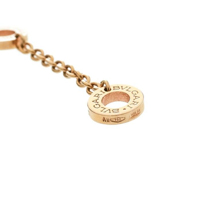Bvlgari Diamond & 18k Rose Gold Pendant Necklace In Good Condition For Sale In Dubai, Al Qouz 2