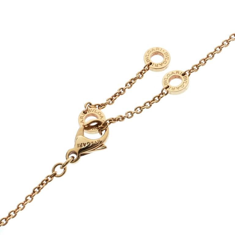 Women's Bvlgari Diamond & 18k Rose Gold Pendant Necklace For Sale